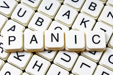 Panic text alphabet word by letters. Letter blocks crossword
