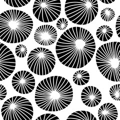 Abstract black and white organic background. Seamless vector pattern