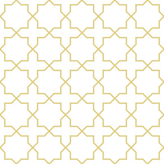 Oriental style geometric background in gold. Seamless vector pattern