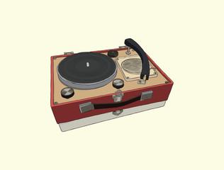 Vintage turntable. Record player vinyl record. sketch vector.