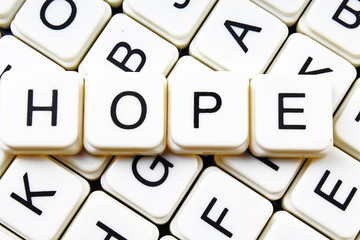 Hope text alphabet word by letters. Letter blocks crossword