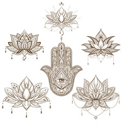 lotus flower and hamsa set. Vector. boho style, yoga, india, Arabic. sketch for tattoo