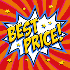 Best price - Comic book style word on a red background. Best price comic text speech bubble. Banner in pop art comic style. Color summer banner in pop art style Ideal for web. Decorative background