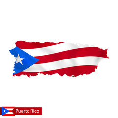 Puerto Rico map with waving flag of country.