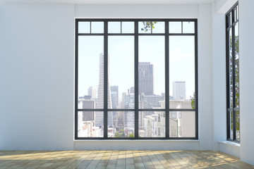 Wall Mural - Modern unfurnished interior with city view