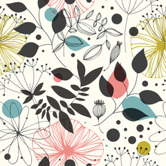 Beautiful fantasy seamless pattern. Decorative vector background with flowers and leaves. Abstract graphic texture
