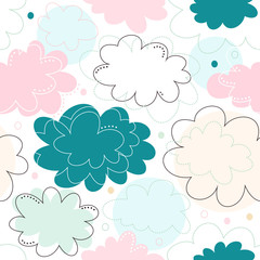 Seamless decorative pattern with fantasy clouds. Childish delicate texture, cute baby background