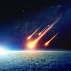 Fototapete - Asteroid impact, end of world, judgment day