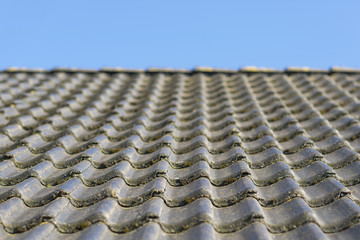 Roof with concrete roof tiles.