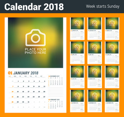 Wall calendar planner template. Vector design print template with place for photo. Week starts on Sunday. Set of 12 months