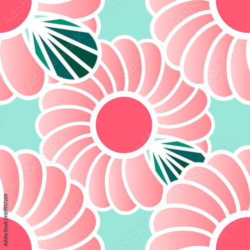 FLOWER GRAPHIC ON LIGHT GREEN Pink Flower Graphic With Green Leaf On Light Background