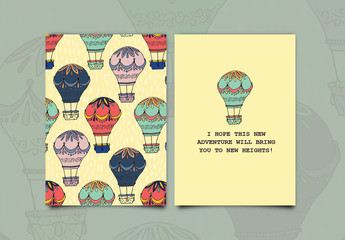 Hot Air Balloon Greeting Card Layout
