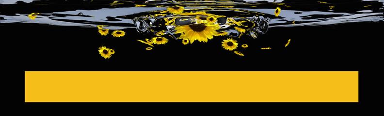 Header mit Sonnenblumen und gelben Balken für Text.