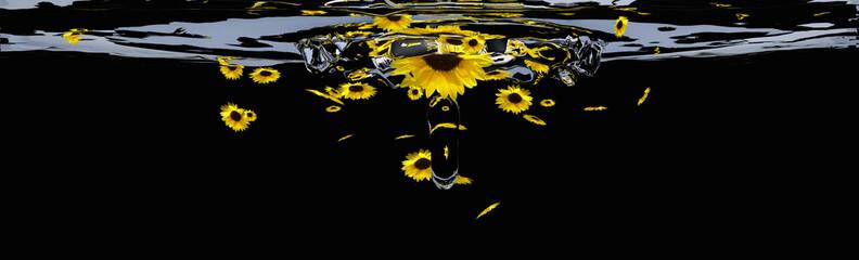 Header mit Sonnenblumen. 3d-Illustration