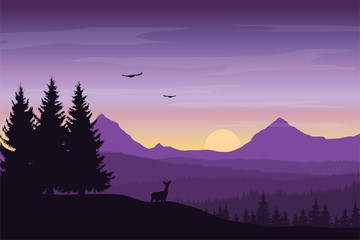 Vector illustration of mountain landscape with forest and deer under a purple sky with sunrise and clouds