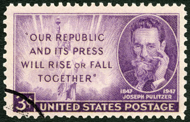 USA - 1947: shows Joseph Pulitzer (1847-1911) Birth Centenary, journalist