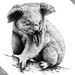 black and white engrave isolated Koala vector illustration