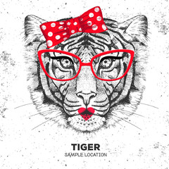 Retro Hipster animal tiger. Hand drawing Muzzle of animal tiger. Girl of 60s
