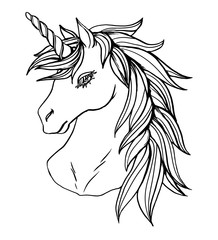 Realistic detailed hand drawn illustration of an unicorn head with mane and horn. Graphic tattoo style monochrome art of imaginary animal. Design for t-shirt, clothes, card print.