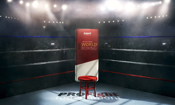 professional boxing arena in lights with chair 3d rendering
