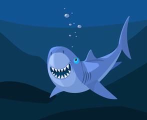 smiling shark, cartoon vector