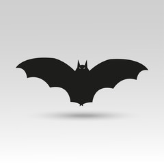 Cute vector Halloween bat icon  for holiday card, invitation and