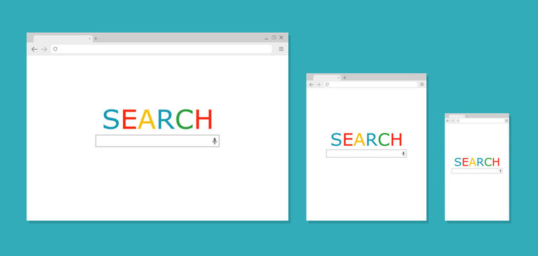 Browser window. Search. Browser in flat style. Vector illustration