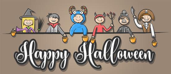 Happy Halloween Kinder mit Kostümen