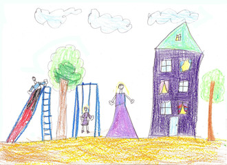 Child's  drawing  family. House, trees and bench