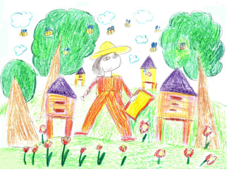 Child's  drawing  beekeeper in a field holding honeycomb frame