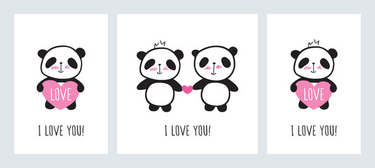 Set of Greeting cards for Valentine's Day, birthday, Mother's Day, wedding with cute pandas and hearts. Doodles, sketch for your design. Vector.