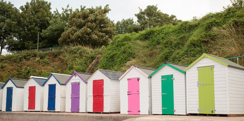 Colourful Beach Huts on Meadfoot Beach in Torquay, Devon