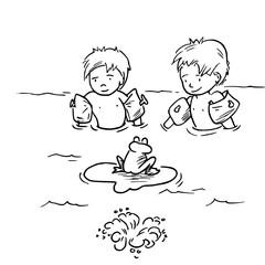 Kinderen spelen in het water