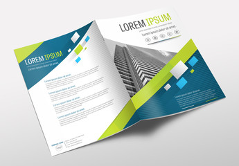 Brochure Cover Layout with Blue and Green Accents 1