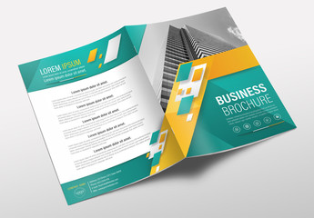 Brochure Cover Layout with  Yellow and Green Accents 1