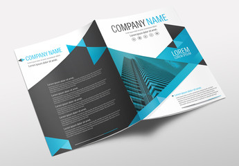 Brochure Cover Layout with Teal and Black Accents 2