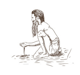 Sketch of Early Morning Prayer People bathe in the river in Varanasi & offer water as an early morning prayer to the Ganges in vector illustration.