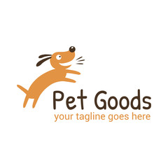 Vector logo template for pet shop,  veterinary clinic. Creative  logotype idea for animal feed. Illustration of a joyful dog.
