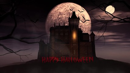 Fototapete - Animated background of spooky Halloween background with castle against moon