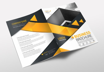 Brochure Cover Layout with Gray and Orange Accents 18