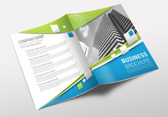 Brochure Cover Layout with Blue and Green Accents 2