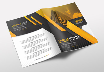 Brochure Cover Layout with Gray and Orange Accents 19
