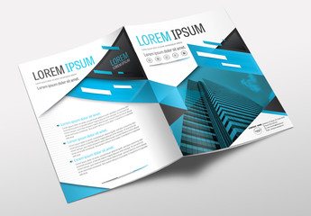 Brochure Cover Layout with Blue and Gray Accents 4
