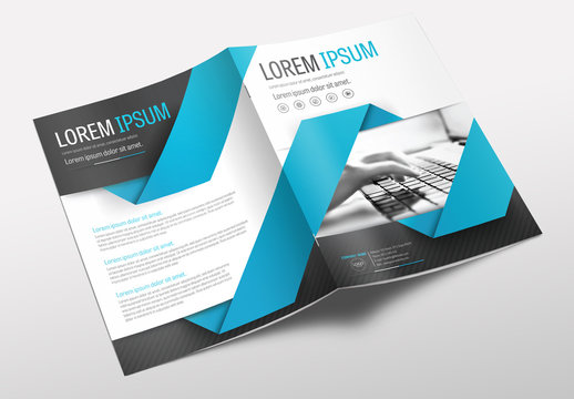 Brochure Cover Layout with Blue and Gray Accents 3
