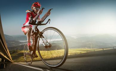 Sport background. Road cyclist. Crop.