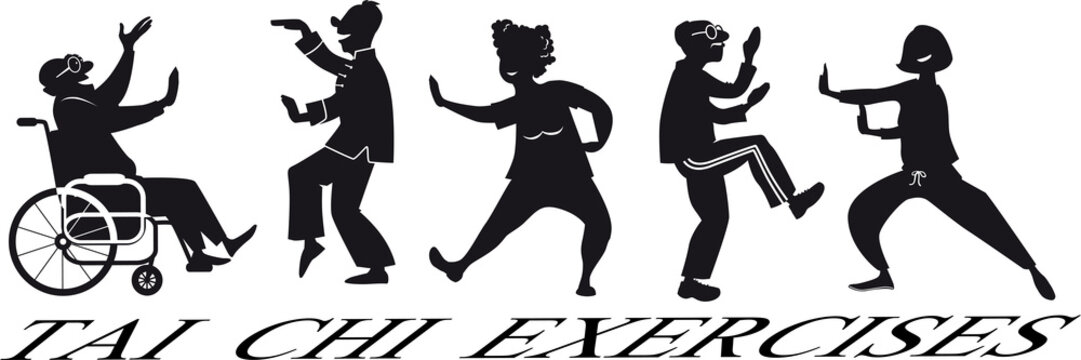 EPS 8 vector silhouette of a group of mature people, including a paraplegic, practicing tai chi, no white objects