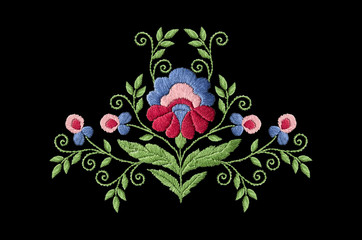 Pattern for embroidery of stylized flower with big leaves and twisted stems on black background