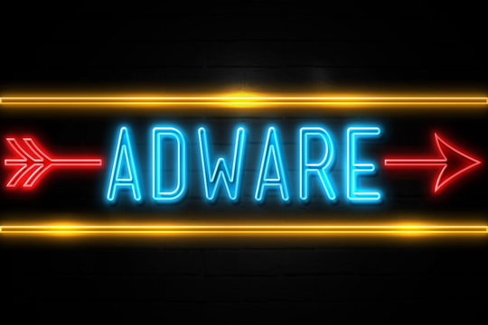 Adware  - fluorescent Neon Sign on brickwall Front view