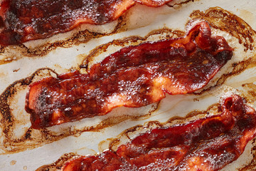 Oven roasted strips of bacon
