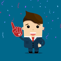 vector illustration of businessman with glove number 1 winner
